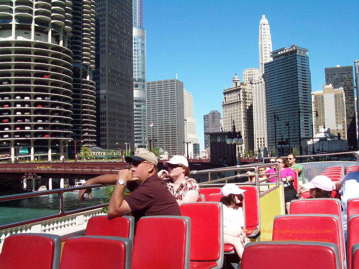 "On the ""Red Bus Tour"" of Chicago near the Chicago River in The Loop"