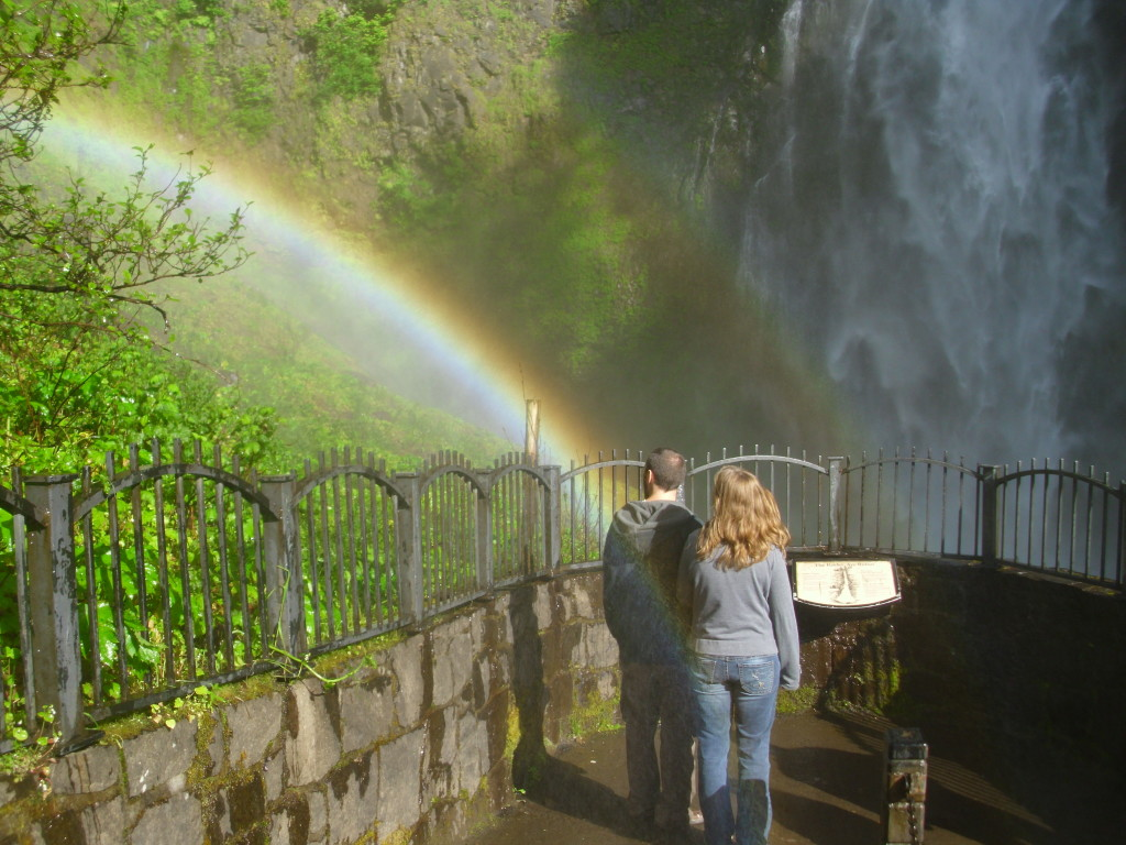 Multnomah Falls Rainbow, Columbia River Gorge, Oregon