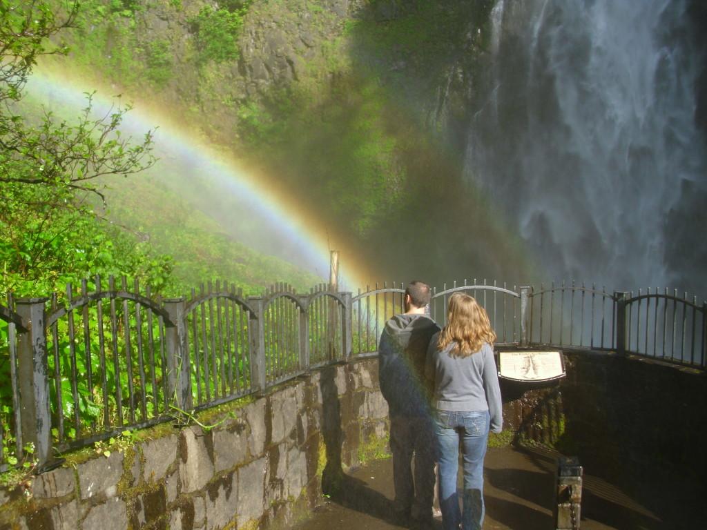 Multnomah Falls Rainbow, Colombia River Gorge, Oregon