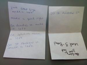 Handwritten Directions to my car in Kensington Muni Parking